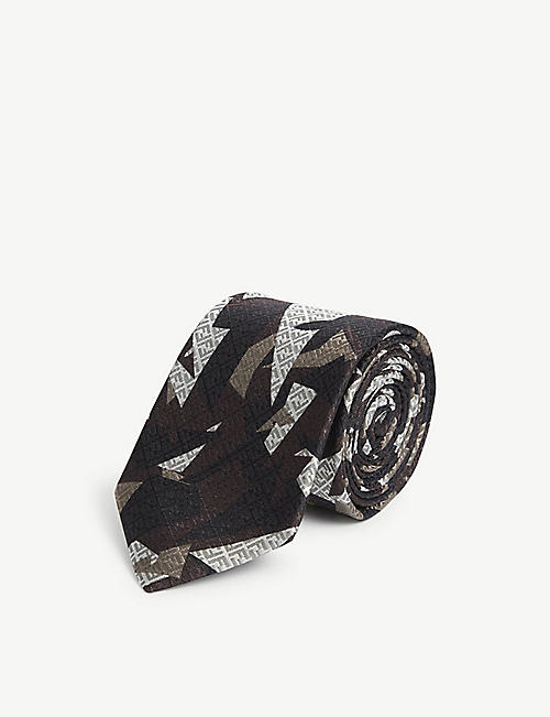 FENDI: Logo-embossed abstract-print silk tie