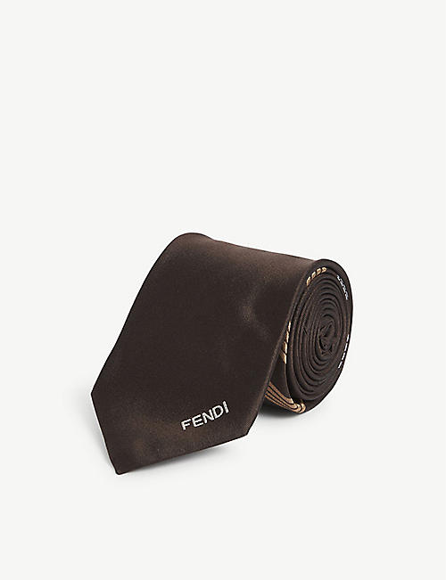 FENDI: Logo-embossed checked silk tie