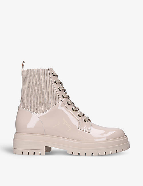 GIANVITO ROSSI: Martis 20 lace-up leather combat boots
