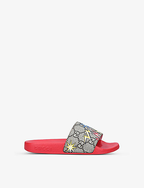 GUCCI: Pursuit monogram-print rubber sliders 4-8 years