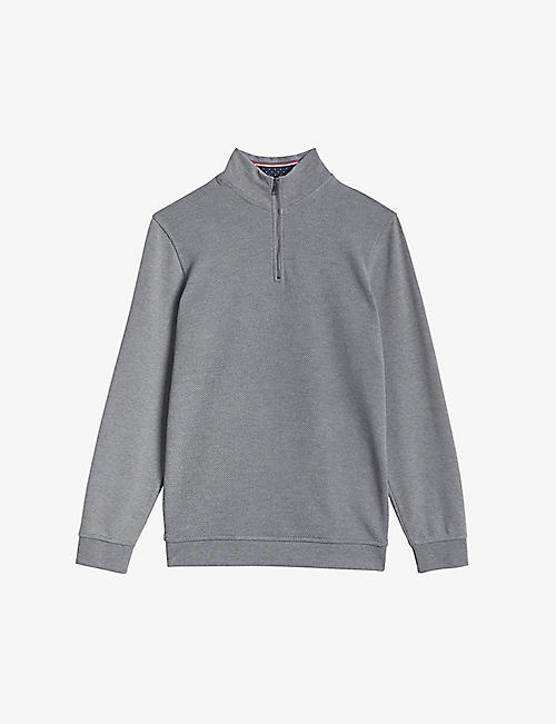 TED BAKER: Funnel neck cotton and modal-blend jumper
