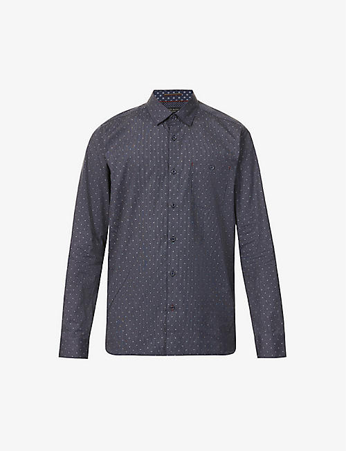 TED BAKER: Polka dot and stripe-print stretch-cotton shirt
