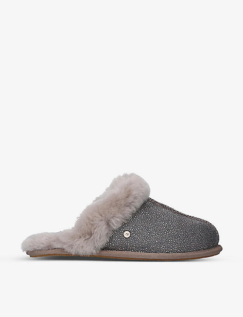 UGG: Scuffette II textile and sheepskin slippers