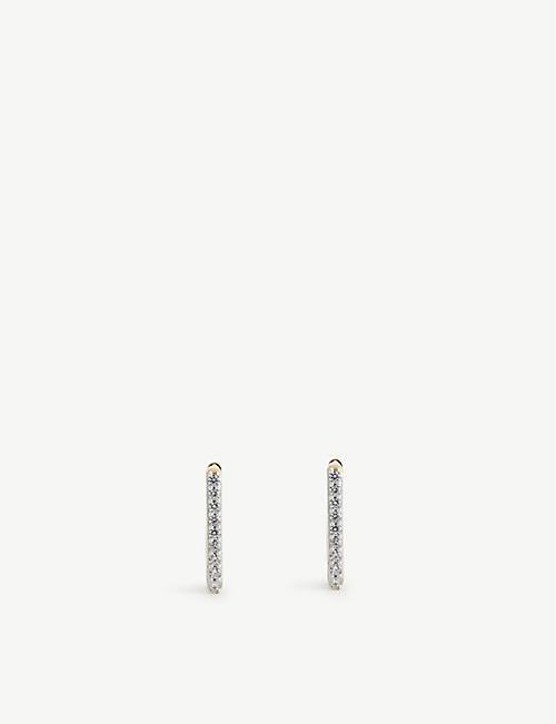 MISSOMA: Pave Ovate crystal and 18ct gold-plated vermeil sterling silver huggies