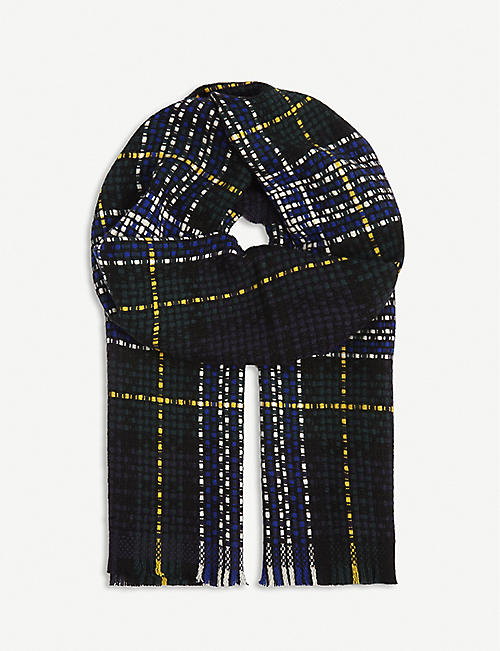 JOHNSTONS: Checked cashmere scarf