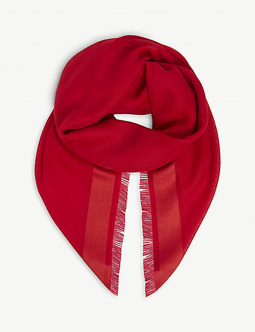 JOHNSTONS: Tonal-trim wool, cashmere and silk-blend scarf