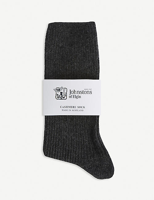 JOHNSTONS: Ribbed cashmere socks