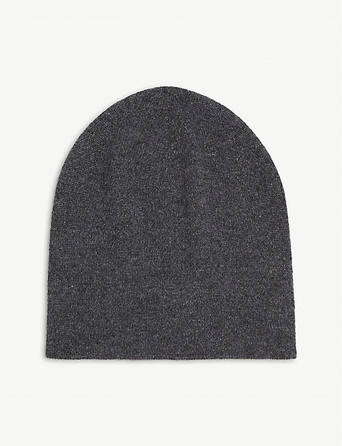 JOHNSTONS: Reversible cashmere beanie hat