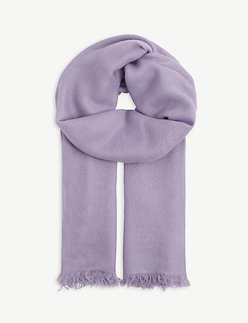 BRUNELLO CUCINELLI: Frayed-hem cashmere and silk scarf