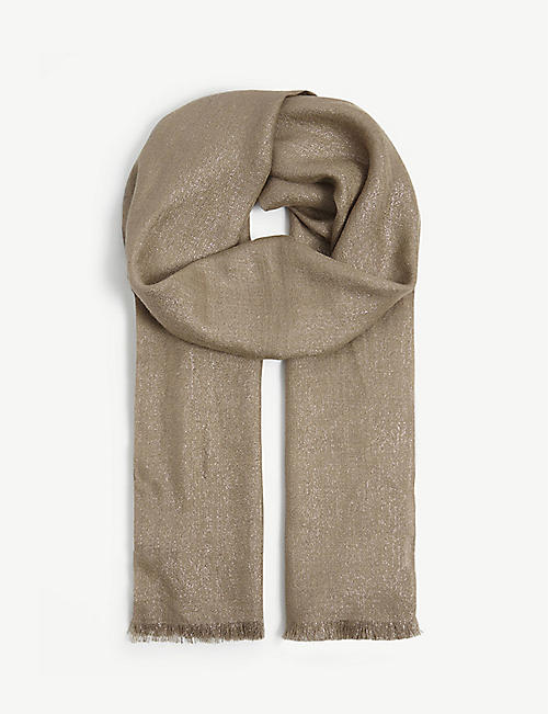 BRUNELLO CUCINELLI: Metallic cashmere and silk blend scarf