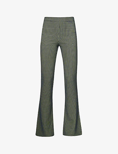 STINE GOYA: Nolan checked flared mid-rise recycled polyester-blend trousers