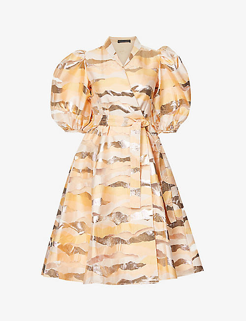 STINE GOYA: Belinda abstract-pattern organza midi dress