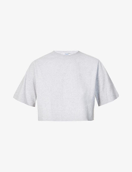 7 DAYS ACTIVE: Cropped organic-cotton jersey T-shirt