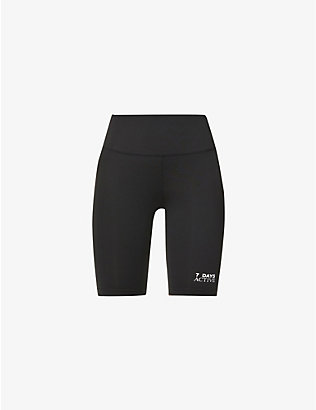 7 DAYS ACTIVE: Logo-print high-rise stretch-knitted shorts