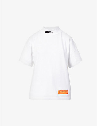 HERON PRESTON: Logo-print high-neck cotton-jersey T-shirt