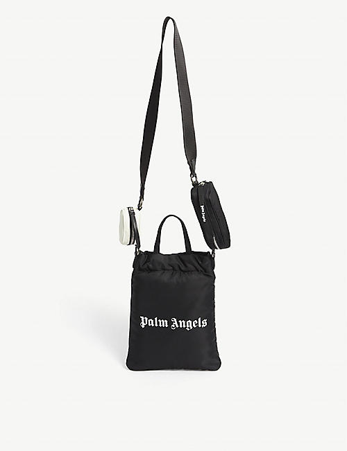 PALM ANGELS: Logo-print nylon mini tote bag