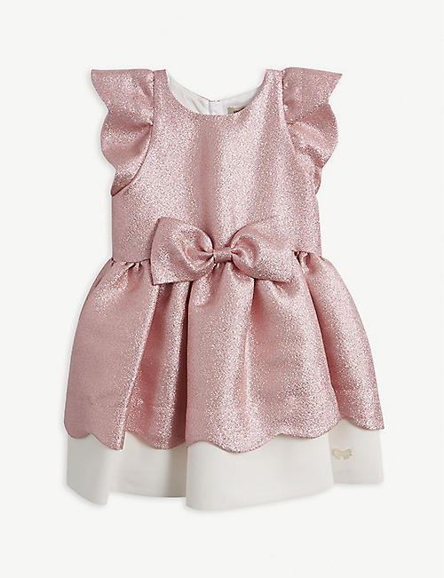 HUCKLEBONES: Bow-embellished glittered cotton-blend dress 4-12 years