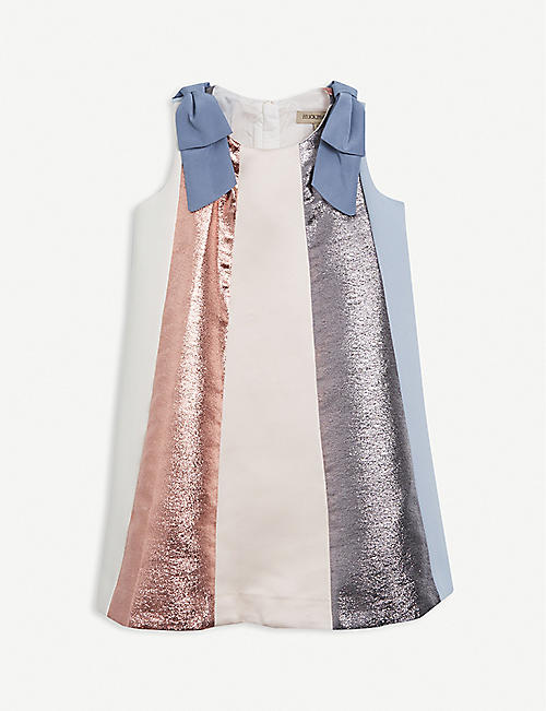 HUCKLEBONES: Rainbow metallic-woven midi dress 4-12 years