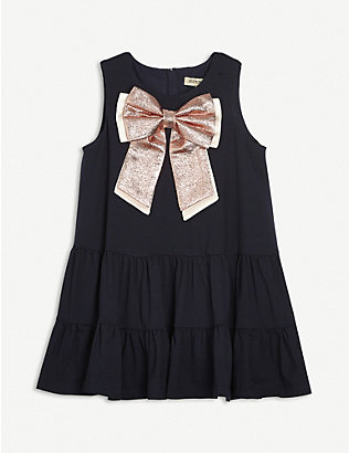 HUCKLEBONES: Bow-Appliqué woven dress 4-12 years