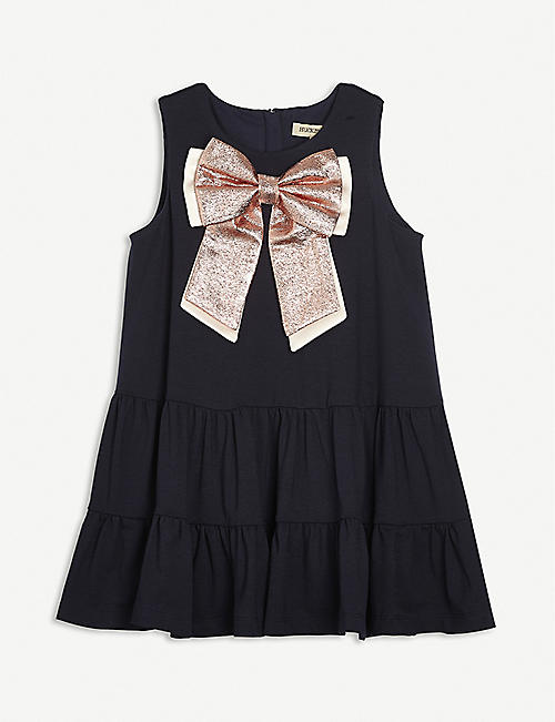 HUCKLEBONES: Bow-Appliqué woven dress 4-6 years