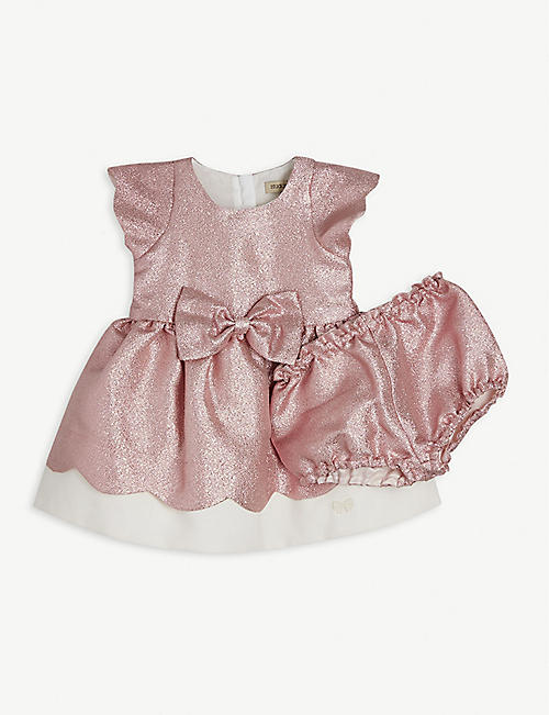 HUCKLEBONES: Bow-embellished glittered cotton-blend dress and bloomers set 12-36 months