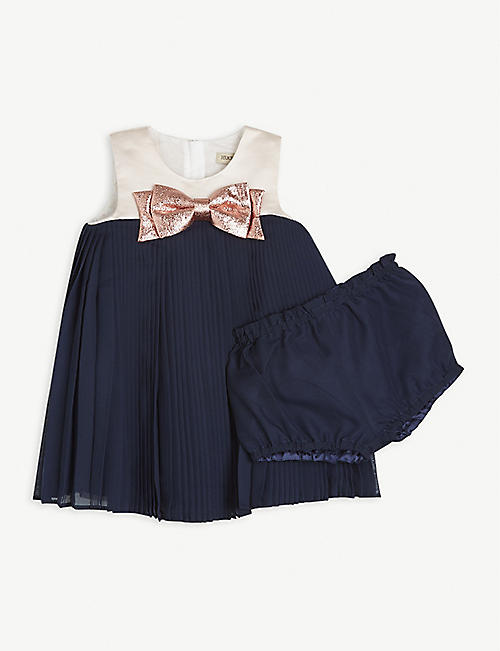 HUCKLEBONES: Bow-embellished pleated dress and bloomers set 12-36 months