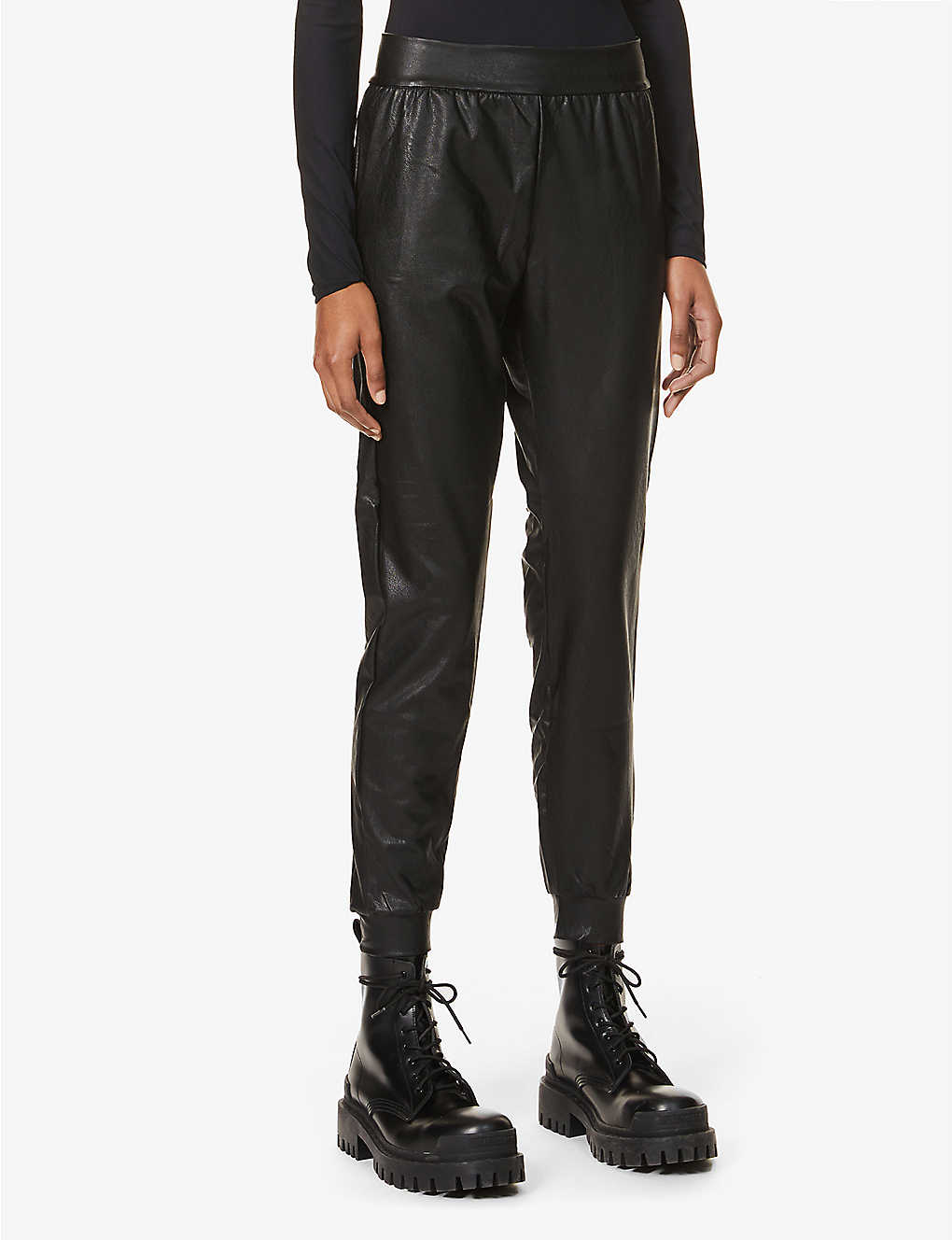 COMMANDO: Tapered mid-rise faux-leather jogging bottoms