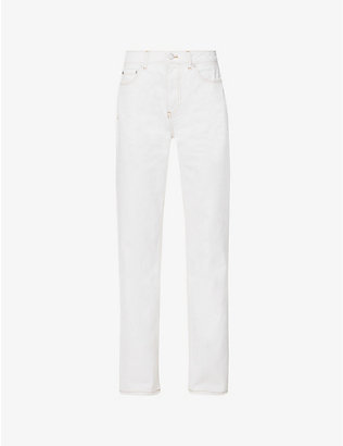 GANNI: Straight-leg high-rise organic-denim jeans