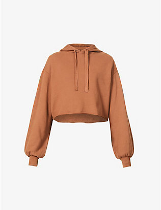 FRAME: Crop Easy cotton-jersey Hoody