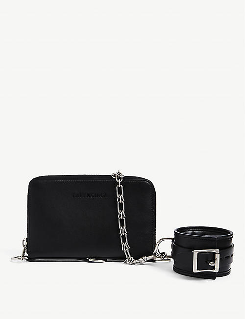 BALENCIAGA: Bondage leather clutch bag
