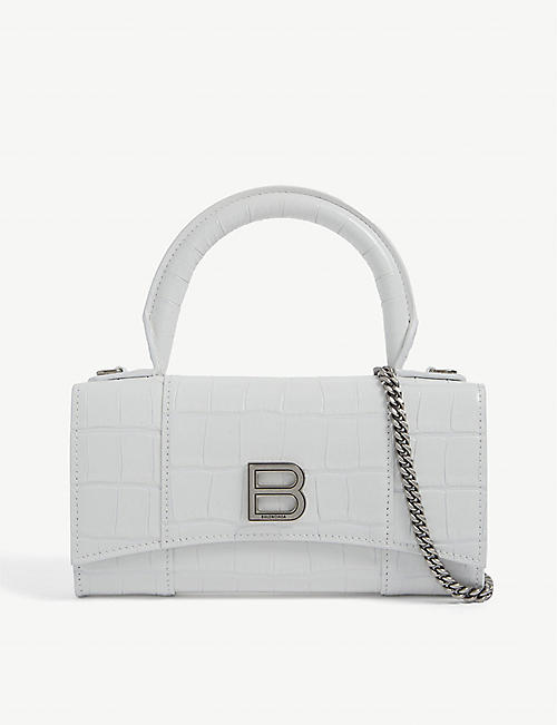 BALENCIAGA: Hourglass crocodile-embossed leather phone pouch