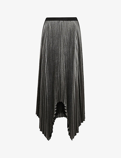ALLSAINTS: Jas shimmer pleated recycled-polyester midi skirt