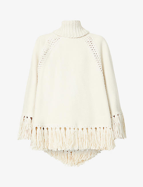 ZIMMERMANN: Ladybeetle fringed cotton-blend knitted poncho