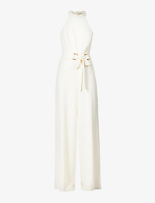 ZIMMERMANN: Halterneck stretch-crepe jumpsuit