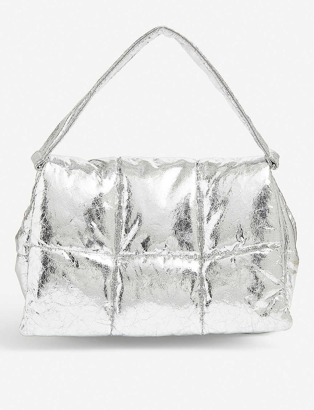STAND: Wanda metallic faux-leather clutch