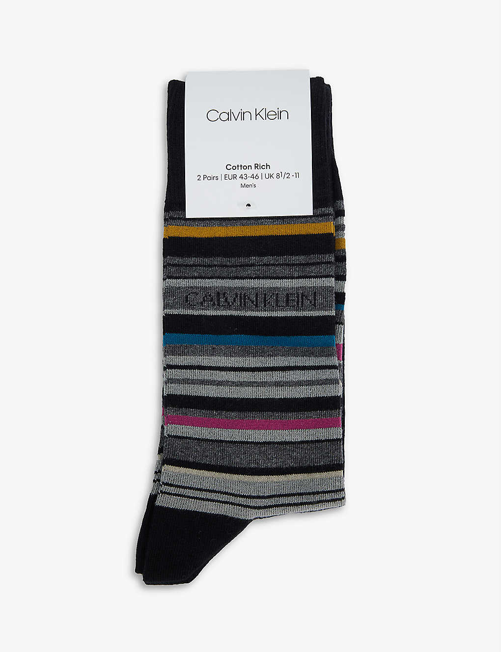 CALVIN KLEIN: Striped cotton-blend socks pack of two