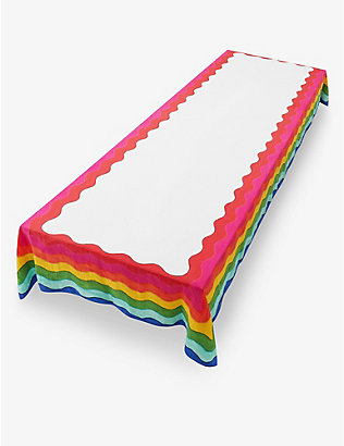 SUMMERILL AND BISHOP: Rainbow linen tablecloth 165cm x 250cm