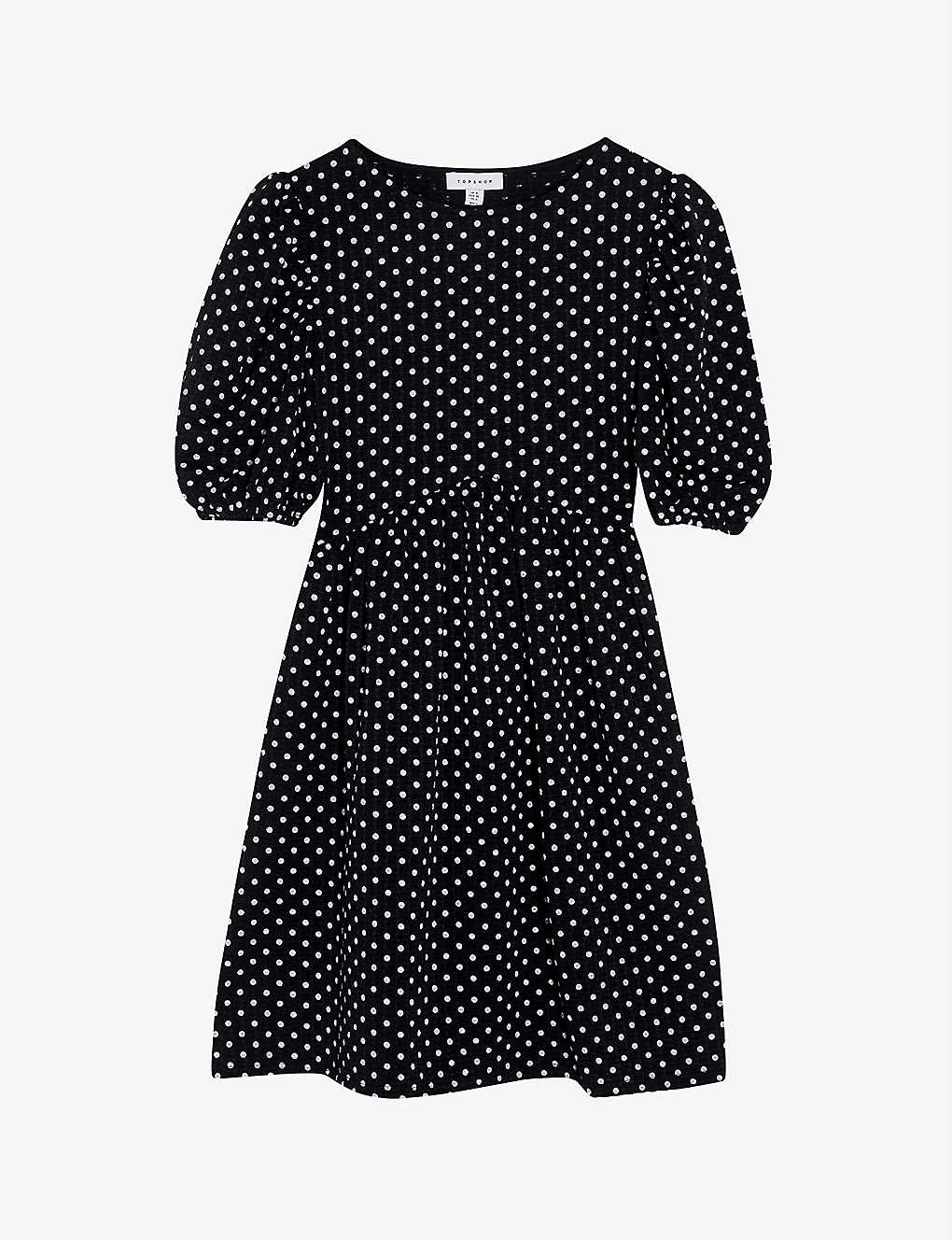 TOPSHOP: Polka-dot cotton-blend mini dress