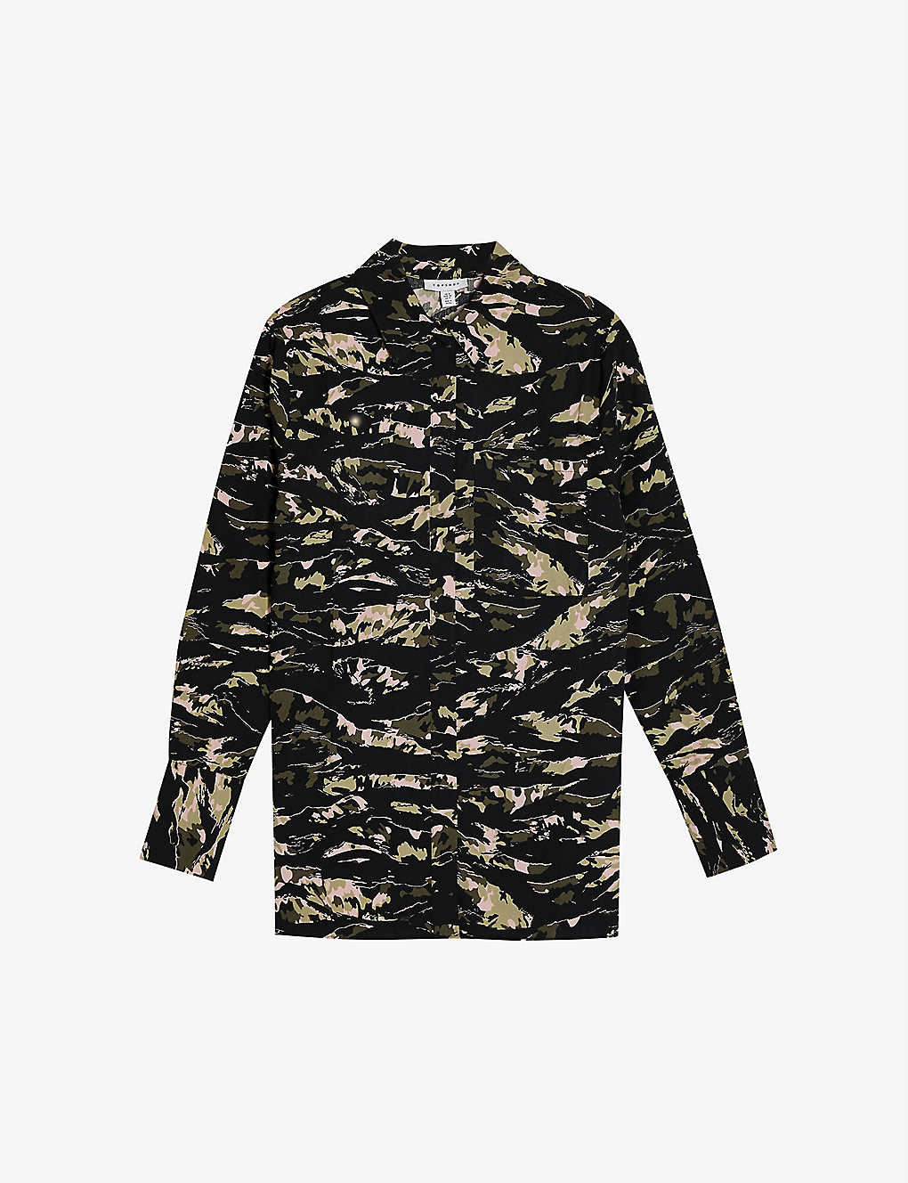 TOPSHOP: Oversized camo-print cotton blouse