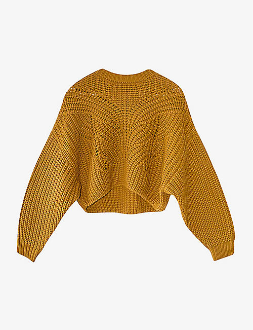 TOPSHOP: Butterfly-stitch cropped knitted jumper