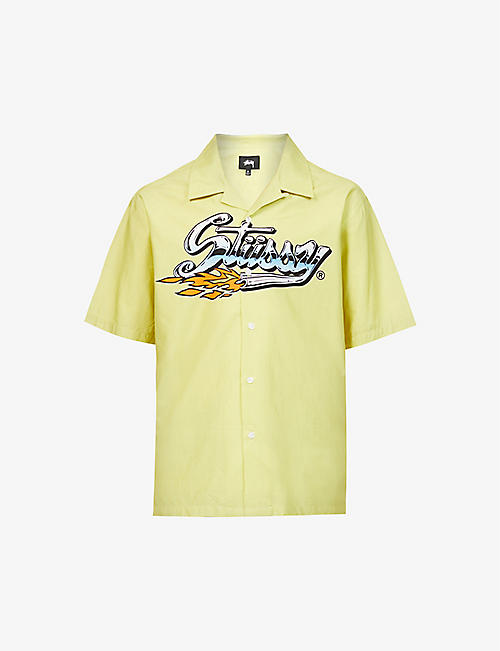 STUSSY: Cruising graphic-print cotton-blend shirt