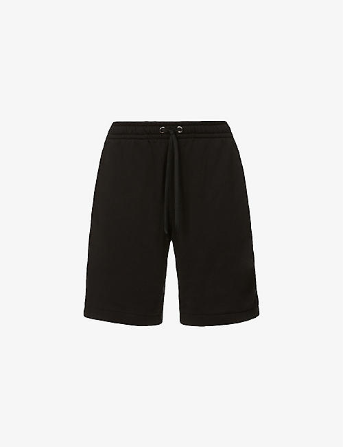 BURBERRY: Logo-stripe straight cotton-jersey shorts