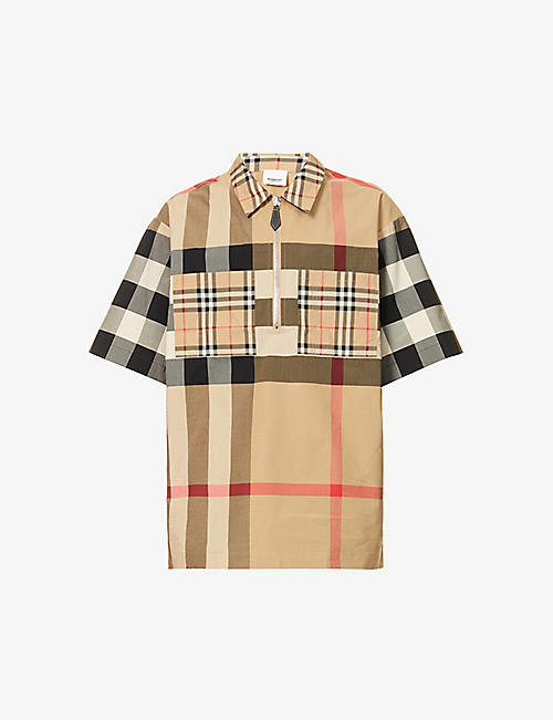 BURBERRY: Walton checked-print stretch-cotton shirt