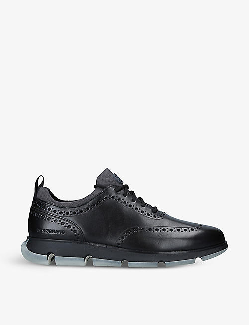 COLE HAAN: 4.ZERØGRAND woven and leather Oxford mid-top trainers