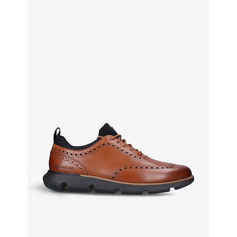 Cole Haan 4.ZERØGRAND WOVEN AND LEATHER OXFORD MID-TOP TRAINERS
