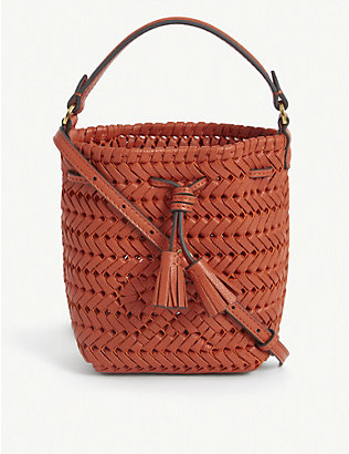 ANYA HINDMARCH: Neeson woven leather bucket bag
