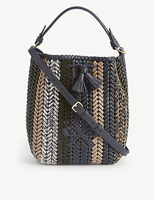ANYA HINDMARCH: Neeson drawstring small woven leather tote