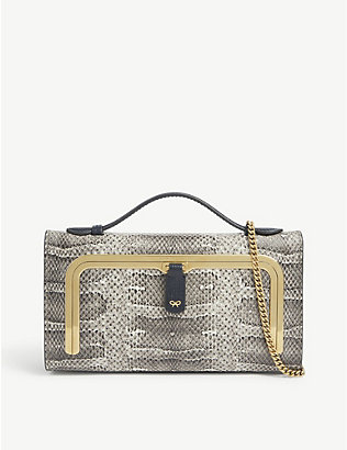 ANYA HINDMARCH: Snake-print mini postbox bag