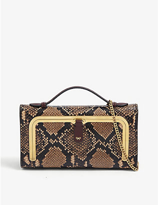 ANYA HINDMARCH: Top-handle mini snake-embossed leather postbox bag