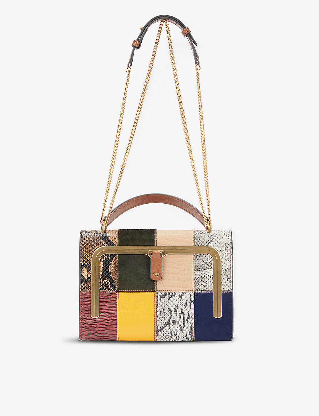 ANYA HINDMARCH: Patchwork small leather postbox bag
